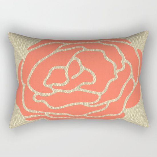 Rose Deep Coral on Linen Rectangular Pillow