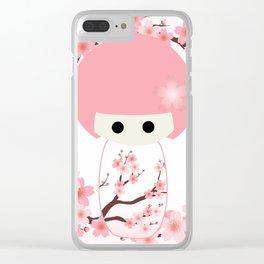 Sakura Kokeshi Clear iPhone Case