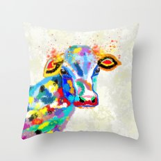 Colorful Cow Art Throw Pillow