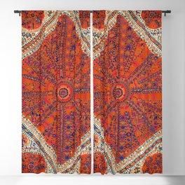 Orange Wildflower Sunshine II // 18th Century Colorful Rusty Red Bright Blue Metallic Happy Pattern Blackout Curtain