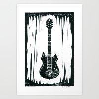 "Jerry Garcia's (Grateful Dead) Doug Irwin Custom Guitar ""Tiger"" Linocut Art Print"