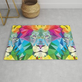 Geometric Rainbow Lion Rug