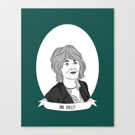 Ann Oakley Illustrated Portrait Canvas Print