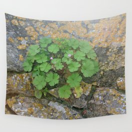 Life on a stone wall Wall Tapestry