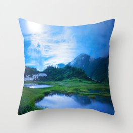 Stormy Japan Alps  Throw Pillow