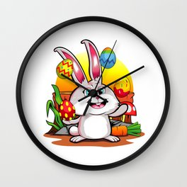 Easter Bunny | Happy Easter Juggling Eggs Wall Clock