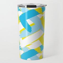 Blue & Yellow Patterns Travel Mug