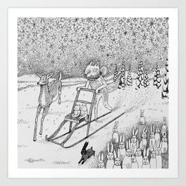 Kick-sledding Fox Art Print