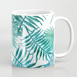 Azure tropical leaves Coffee Mug