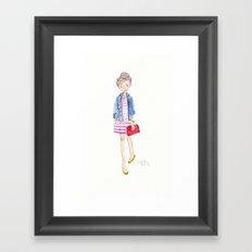 Pink Stripes + Denim Jacket Framed Art Print