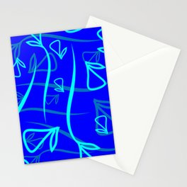 Geometric pattern made from plant blue and mint elements on a blue background Stationery Cards