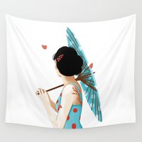 sakura Wall Tapestries featuring Sakura by Luiza Abend