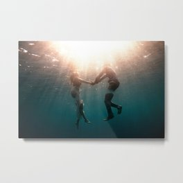 Breaking Up-Surreal Couple in the Ocean Metal Print