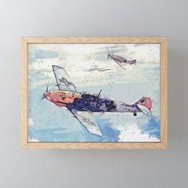 Messerschmitt Bf 109 watercolor by Ahmet Asar Framed Mini Art Print