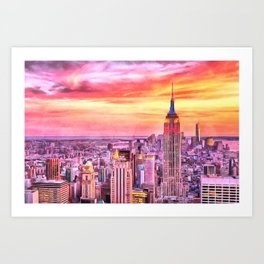 NYC Brooklyn New York City Manhattan Sunset Painting City Watercolor Skyline Art Print Decor Art Print