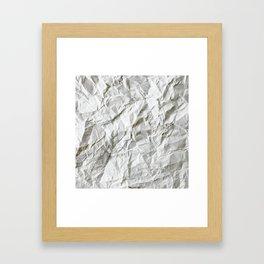 CRUMPLED WRINKLED WHITE PAPER I Framed Art Print