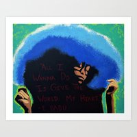 erykah badu Art Prints featuring Afro Blue: Erykah Badu by Artistik Rebel Creative