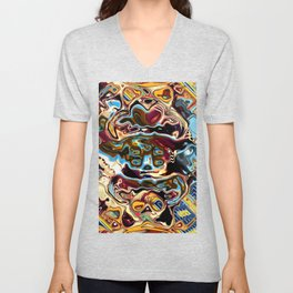 Chaotic Abstract Conglomeration Unisex V-Neck