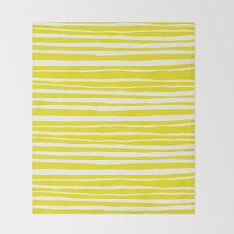 Small Sun Yellow Handdrawn horizontal Beach Stripes - Mix and Match with Simplicity of Life Throw Blanket
