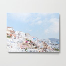 Pastel Colored View on Santorini Greece Metal Print