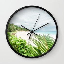 Paradise beach at La Digue Seychelles Wall Clock