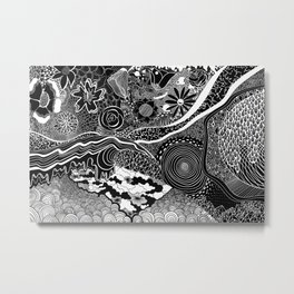 energy wave psychedelic lines Metal Print