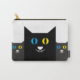 Black cat yellow and blue eyes #society6 #decor #buyart #artprint Carry-All Pouch
