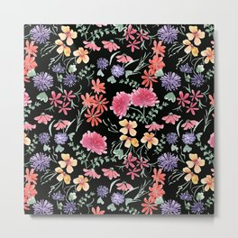 Bright flowers on a black background. Metal Print