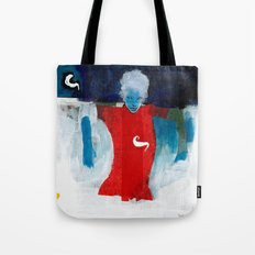 woman in the wind Tote Bag