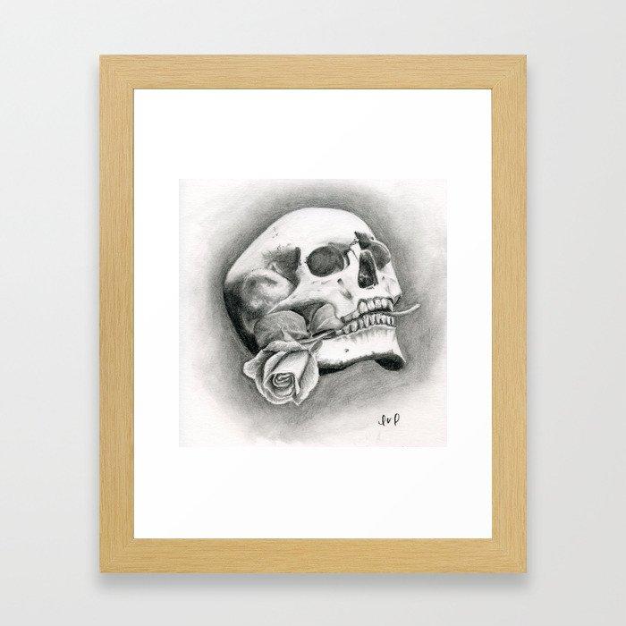 Skull & Rose Framed Art Print