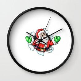 Happy Christmas Santa Breaks Out Wall Clock