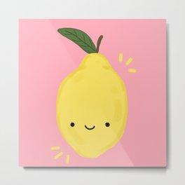 Kawaii Lemon Metal Print