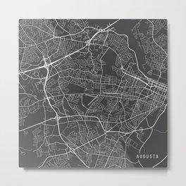 Augusta Map, USA - Gray Metal Print