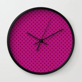 Polka dot, crimson Wall Clock