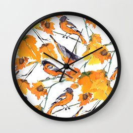 Birds in Autumn Wall Clock
