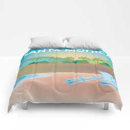 Santa Monica, California - Skyline Illustration by Loose Petals Comforters