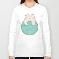 knit Long Sleeve T-shirts featuring knit cat by kim vervuurt