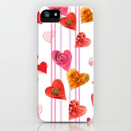 seamless  pattern with hearts and flowers iPhone Case