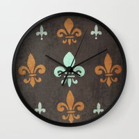 fleur de lis Wall Clocks featuring Fleur de lis #2 by Camille