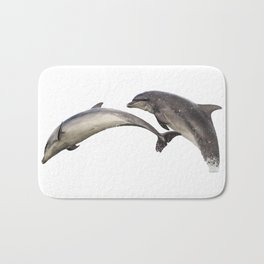 Dolphins in double breach Bath Mat