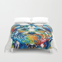 yorkie Duvet Covers featuring Colorful Yorkie Dog Art - Yorkshire Terrier - By Sharon Cummings by Sharon Cummings