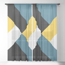 Triangles and stripes Sheer Curtain