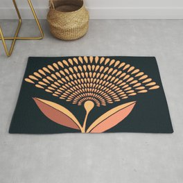 Mid Century Modern Dandelion Seed Head In Coral and Pink Rug