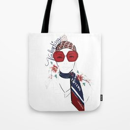 The Girl with the Red Scarf Tote Bag
