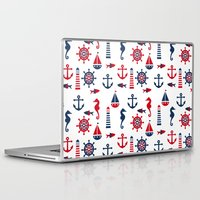 navy Laptop & iPad Skins featuring Navy by Valmo. Surface pattern design by Valeria