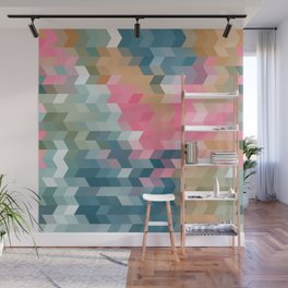 Abstract pink, blue, gray Wall Mural
