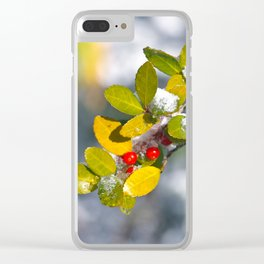 Snow covered holly Clear iPhone Case