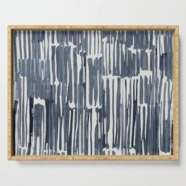 Simply Bamboo Brushstroke Indigo Blue on Lunar Gray Serving Tray