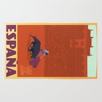 travel poster Area & Throw Rugs featuring Vintage Travel Poster - España / Spain  by Four & Thirty