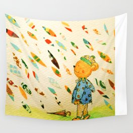 A Little Bear On A Rainy Day Wall Tapestry